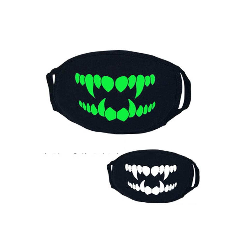 Halloween Thick Fluorescent Green Luminous Mask Personality Horror Funny Teeth Bear Mustache Pattern Breathable Cotton Mask