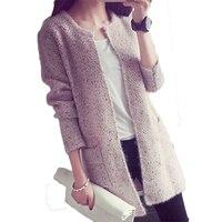 Women Mohair Crochet Tops Fashion Women Long Sleeve Pockets Cardigans Autumn Winter Warm Knitted Sweaters Rebecas