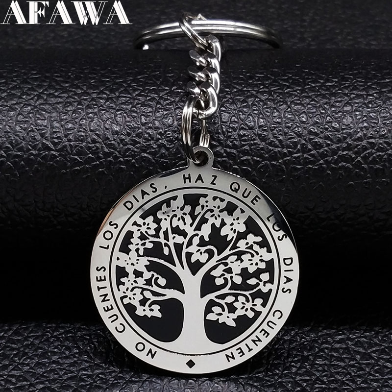 2019 Fashion Tree Of Life Stainless Steel Keyring For Women Silver Color Keychain Car Jewelry