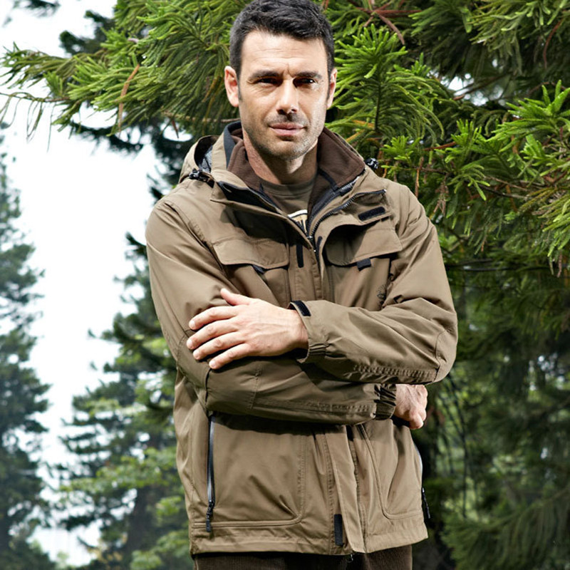 Winter Fleece Thicken Warm Jacket With Liner Two piece Men Outdoor Cycling Climbing Camping Waterproof Windproof