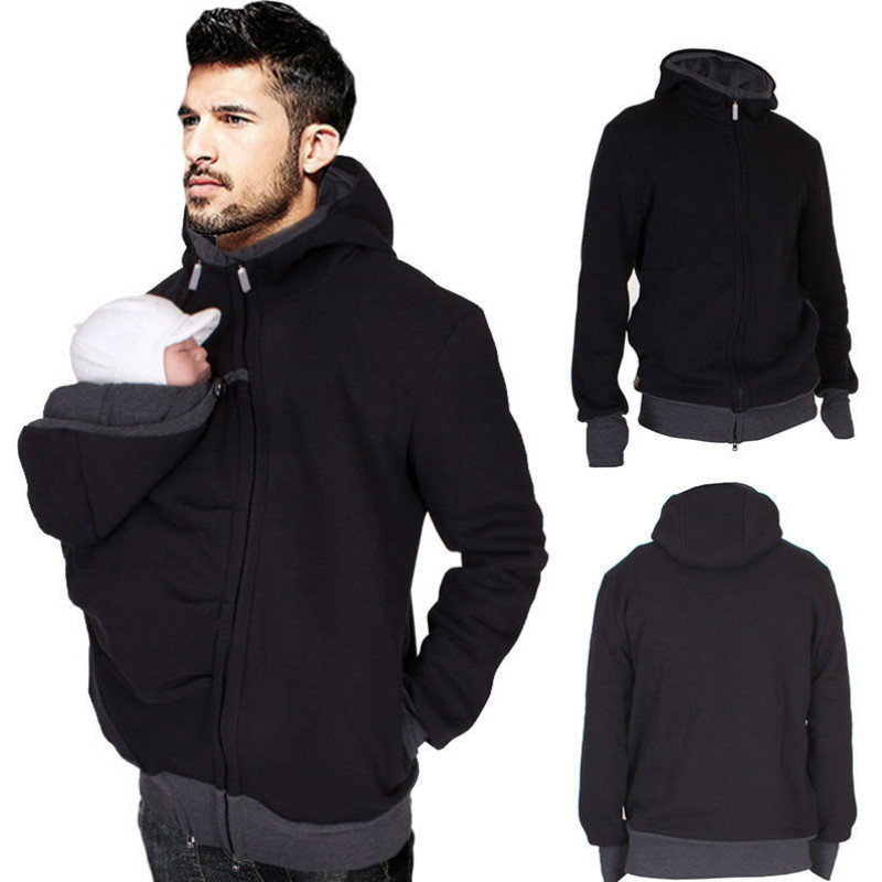 S-2XL Baby Carrier Jacket Kangaroo Hoodie Winter Maternity Hoody Outerwear Coat For Pregnant Women Dad Winter Sweatshirt kangaroo pocket drop shoulder color block sweatshirt