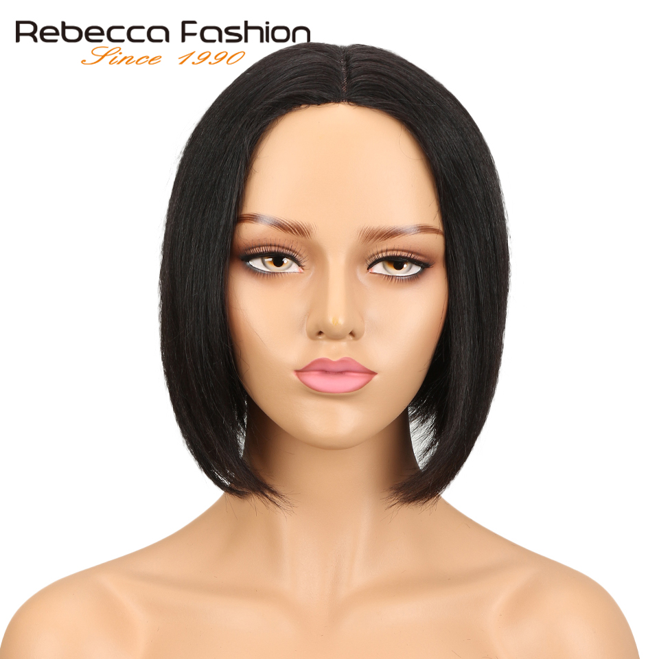 Rebecca Middle Part Human Hair Lace Wigs For Women Brazilian Remy Straight Hair Short Bob Wig Natural Black Free Shipping
