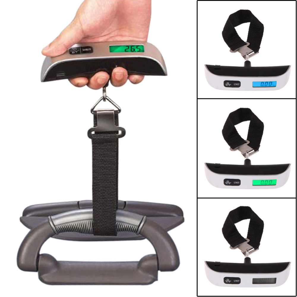 50kg/110lb Digital Electronic Luggage Scale LCD Display Portable Suitcase Scale Handled Travel Bag Weighing Hanging Scale цена