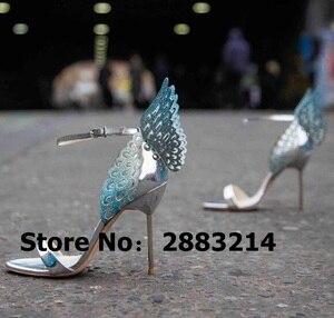 Image 2 - Evangeline sandale dange dorée, escarpins de mariage en cuir véritable, rose à paillettes, chaussures à talons hauts 3D, papillon, taille 42