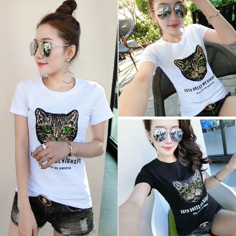 Cat t shirt Summer O Neck Casual White Black Short Sequins Cat tshirt Women Party Streetwear Vogue Clohtes Tee Femme Plus Size