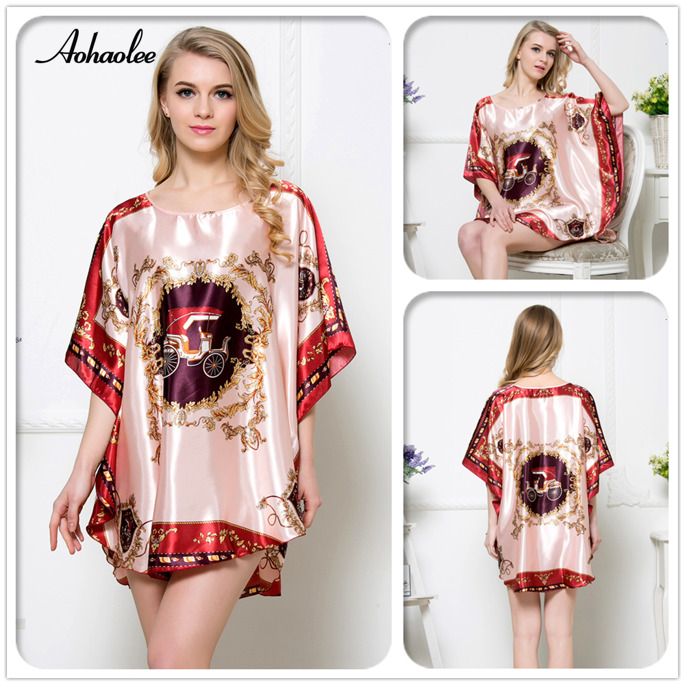 New Women's Sleepwear 19 Colors Sexy Silk   Nightgown     Sleepshirts   Long Batwing Sleeve Silk   Nightgowns   Print Women Night Gown Robe