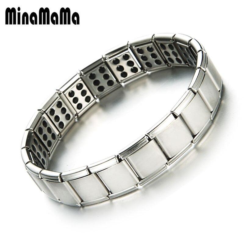 f78c94c6f060 Más dos o tres filas de acero inoxidable elástico terapia magnética pulsera  para los hombres el dolor de la artritis alivio magnético pulseras de hombre