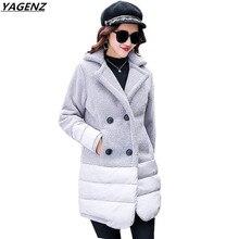 Plus Size 5XL Female Basic Coats 2017 New Fashion Winter Jacket Thick Lamb Hair Stitching Cotton Jacket Women Outwear YAGENZ 583