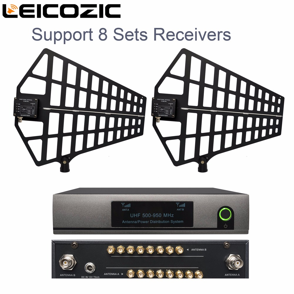 Leicozic 8 Channel Antenna Distribution System Antenna Splitter support 8 Sets Receivers 500 950Mhz for uhf