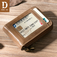 DIDE Large capacity Multi card slot Small Genuine Leather Wallet Men Credit Card & ID Holders Femle Mini coin Purse Women