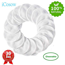iCosow Organic Cotton Rounds Reusable Eye Makeup Remover Pads,  Natural Bamboo Cotton Pads Wipe Cleansing Toner Pads