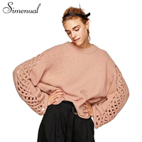 Simenual Hollow Out Lace Up Winter Women S Sweaters And Pullovers Knitwear Casual Knitted Oversized Lady