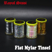 8spools set medium size flat mylar tinsel pearlescent flashback 3D holographic for Streamer Muddler Fly Tying Material