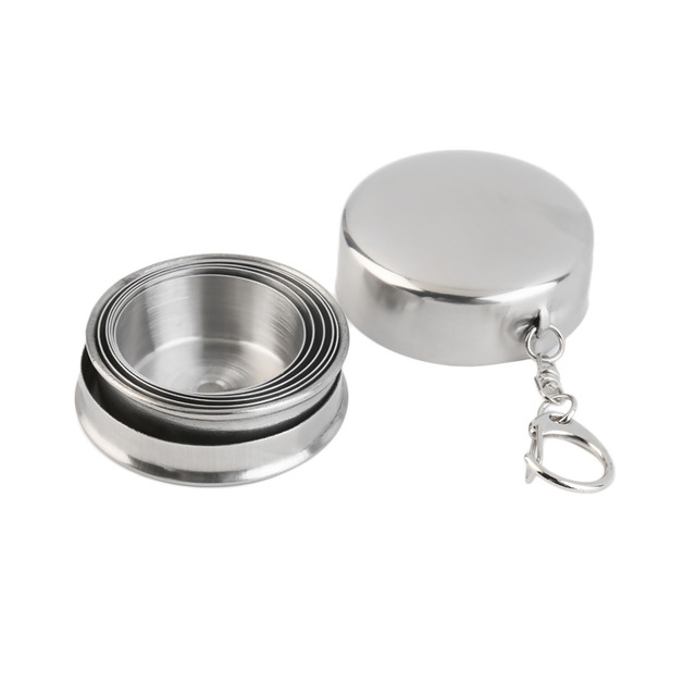60ml Stainless Steel Portable Outdoor Travel Camping Folding Collapsible Cup free shipping