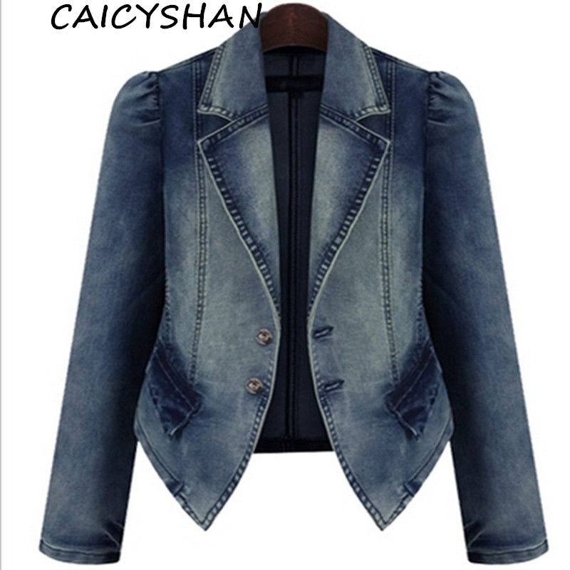 Freeshipping New spring Autumn Wome Coats Vestidos Plus Size Casual Slim full sleeve jacket Jeans Coat For Women Large Outerwear