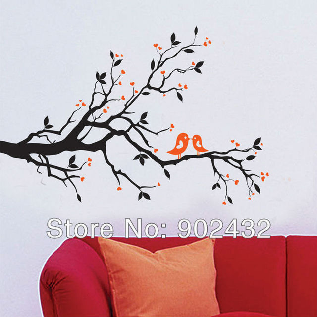 Tree And Birds Wall Sticker Home Decor Living Room Bedroom Furniture  Decorative Decals JM7051