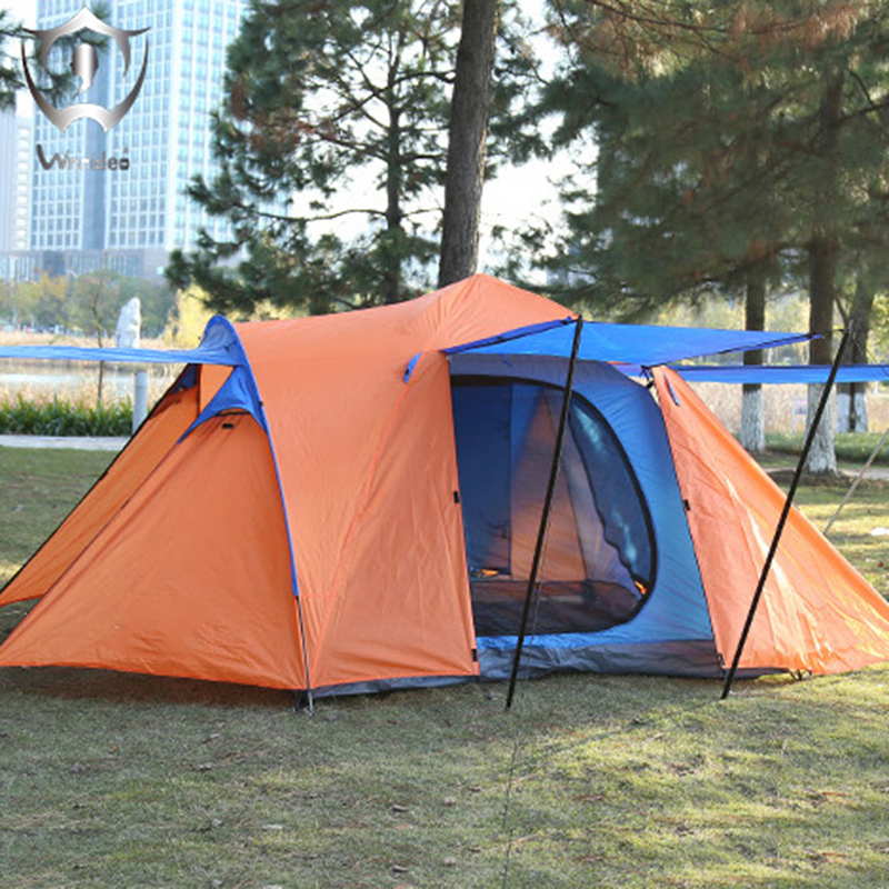 Wnnideo 3-5 Person Tent with Canopy Outdoor Camping Hiking Traveling Double Layer Portable Multi-functional Wholesale ZF6-703 single bedroom apartment camping tent tunnel tents 2 3 person outdoor 2 layer driving filed tent canopy easy and convenient
