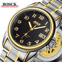 BOSCK Automatic Mechanical Watch Men Tourbillon Luminous Waterproof Watches Date Wristwatch Hodinky Male Clock Relogio Masculino