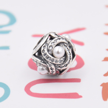 1:1 Luminous Love Knot With Imitation Pearls Beads Fit Pandora Bracelet Bangle Authentic 925 Sterling Silver DIY Jewelry