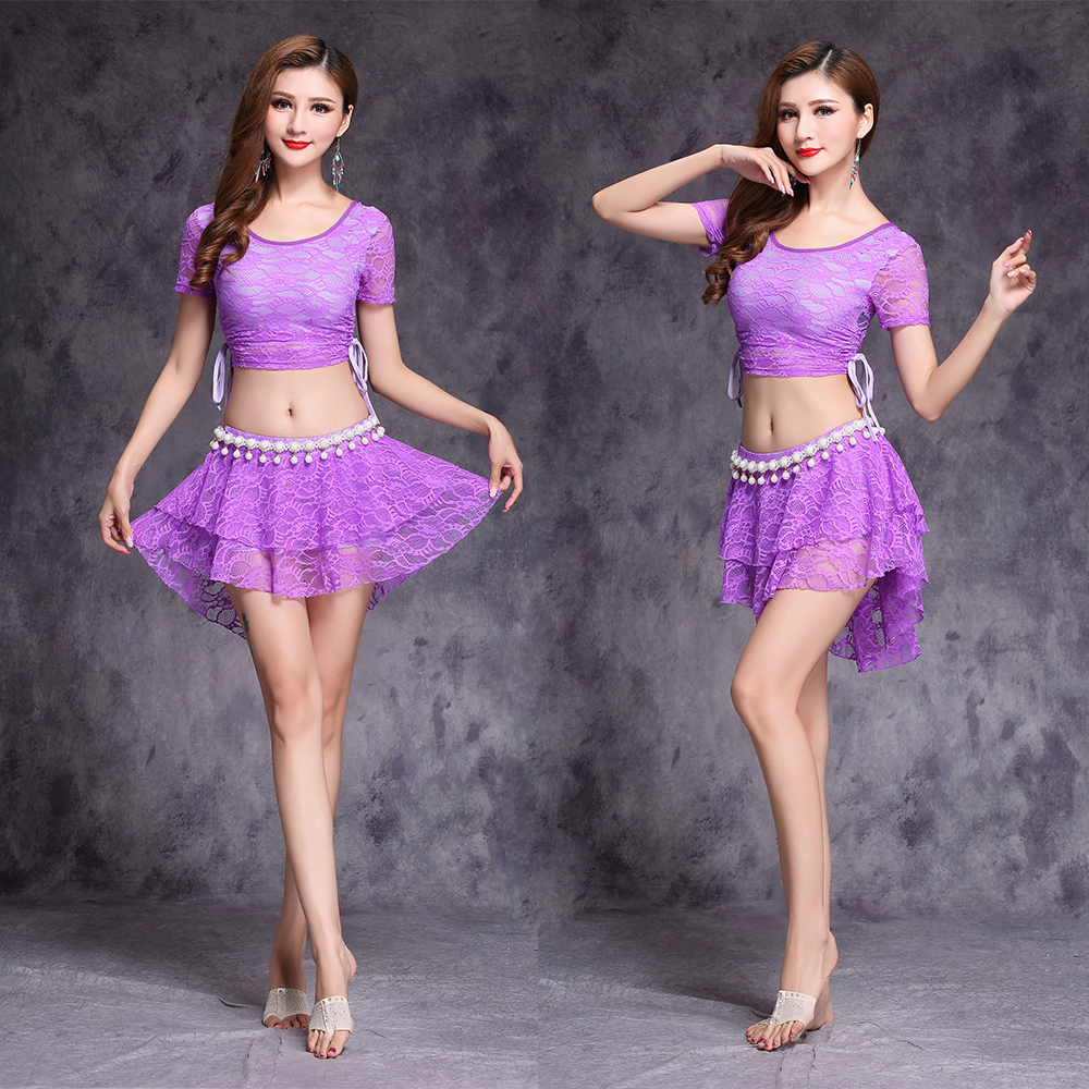 a7495929e143 Lace belly dance costumes short sleeve top+skirt +Waist chain 3pc ...