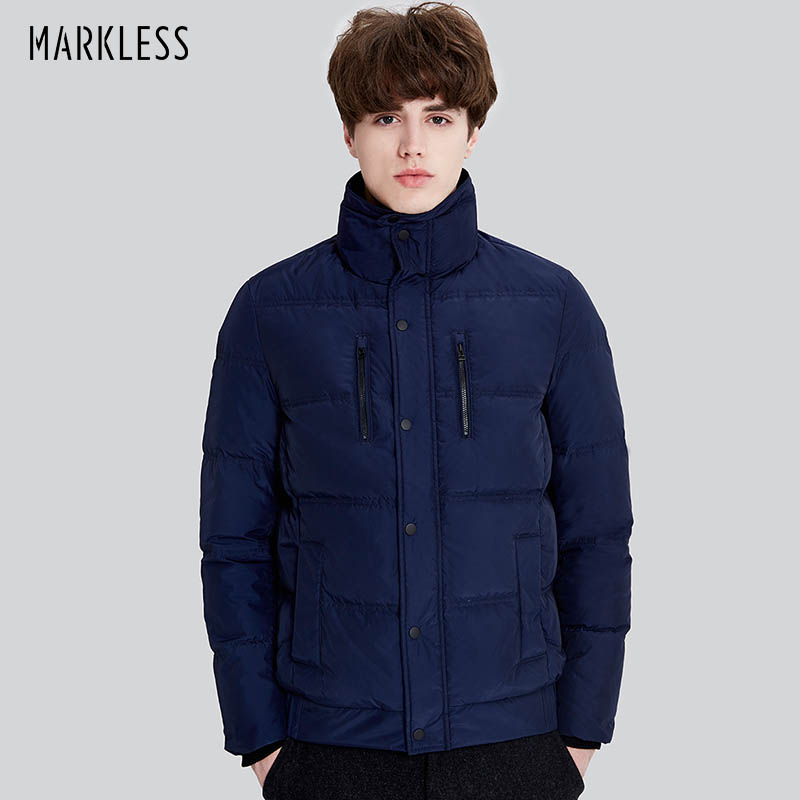 Markless Brand 2017 Winter Warm Thick Down Jacket Men Casual Stand Collar Parkas Male Outerwear Warm Down Coats YRA7311M