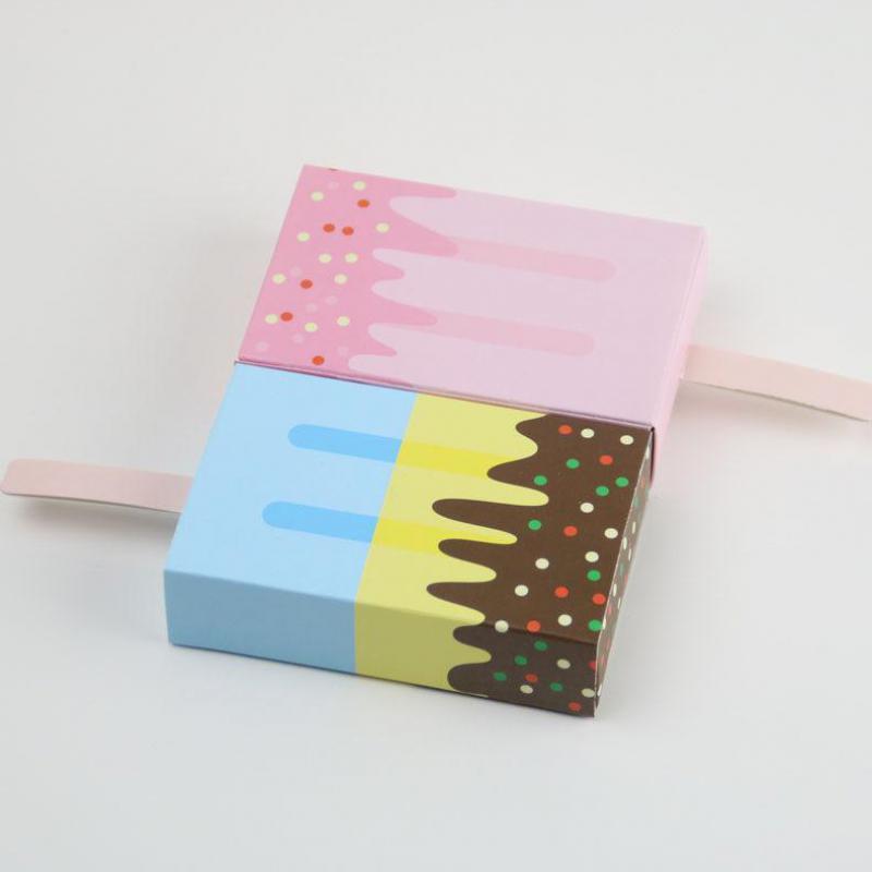100 pièces mignon glace forme boîte à bonbons boîtes à biscuits cadeau bébé douche fête d'anniversaire enfants Bomboniera dragées Bedankjes faveurs-in Sacs-cadeaux et emballages from Maison & Animalerie    1