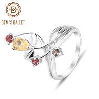GEM S BALLET Women 925 Sterling Silver Citrine Garnet Smoky Quart Rings 0 99ct Classic Engagement