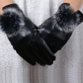 New high-grade The leather gloves touch screen with female winter cashmere rabbit hair ball thickened warm cold windproof gloves