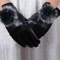 Nuevo de alta calidad de La pantalla táctil guantes de cuero con bola de pelo de conejo hembra invierno cachemir engrosada cálido frío a prueba de viento guantes