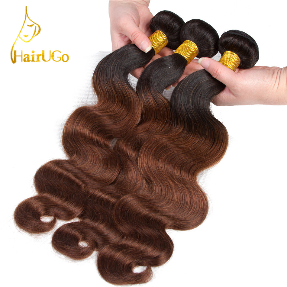 HairUGo Hair Pre-colored Omber Malaysia Hair 100% Human Hair Body Wave #1B/33 Color Nom Remy Hair Weaves 4 Bundles Extensions