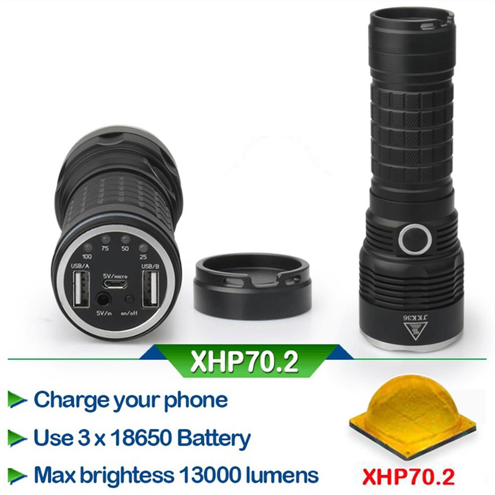 Led Flashlight 29W XHP70.2 50000 lumen 3*18650 battery xhp70 Police LED Flashlight mobile power bank usb output port*2