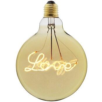 Специальные G125 новый дизайн любовь led лампа Эдисона лампа со спиралью amber Ретро энергосберегающие лампы Винтаж нити шарик пузыря шарика E27 с...