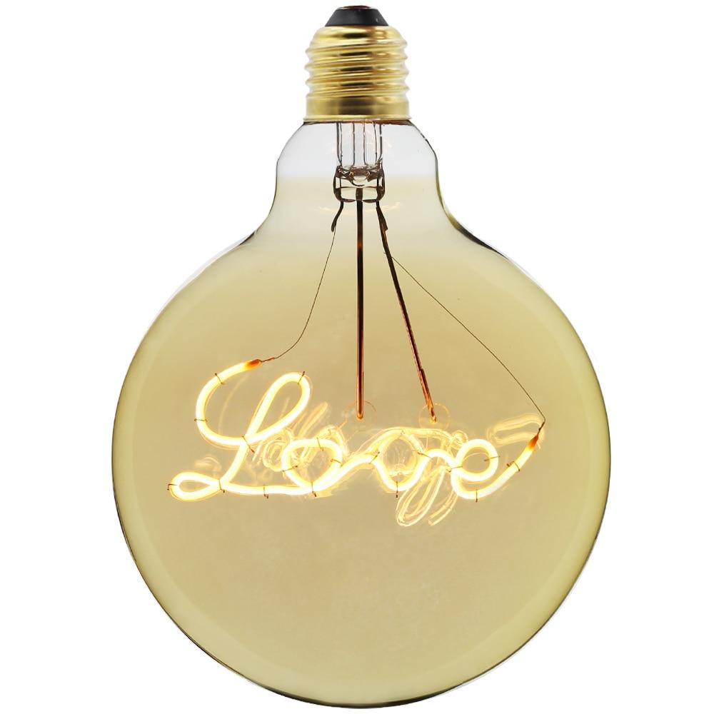 цена на Special G125 new design LOVE led edison bulb spiral light amber retro saving lamp vintage filament bubble ball bulb E27 light
