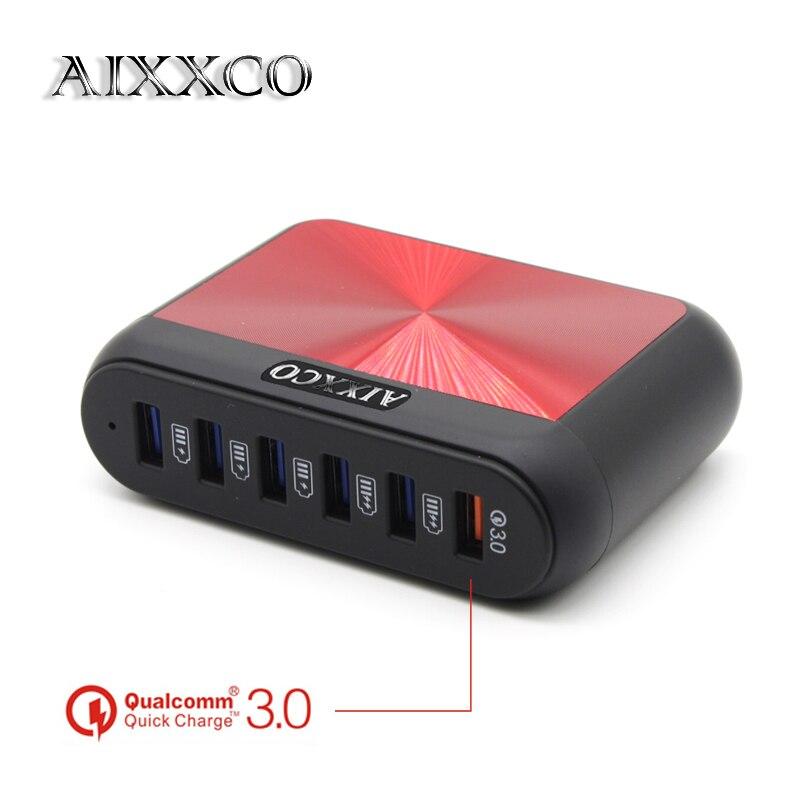 [6 Порты] AIXXCO 6A QC3.0 Quick Charge 3,0 USB Зарядное устройство для Xiaomi для <font><b>LG</b></font> <font><b>G5</b></font> Быстрый Телефон Зарядное устройство адаптер ЕС США