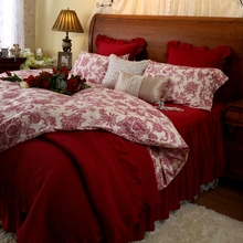 Red married bed four piece set cotton 100% 1.8m double long staple skirt sheets duvet cover
