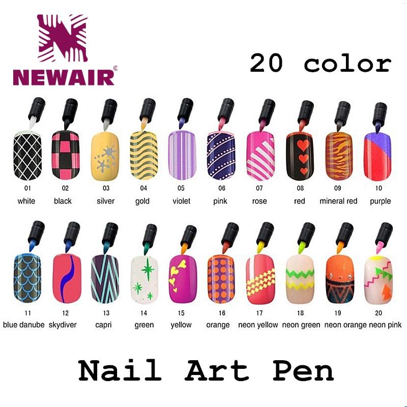 20 Colores Plumas de Uñas de Arte Colorido Polaco Lápiz Gel Polaco - Arte de uñas - foto 1
