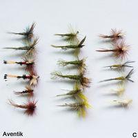 18 pcs Aventik Seco Moscas da Pesca Da Truta Moscas da Pesca Efemérida Wet Dry Tamanho Misto 18 36