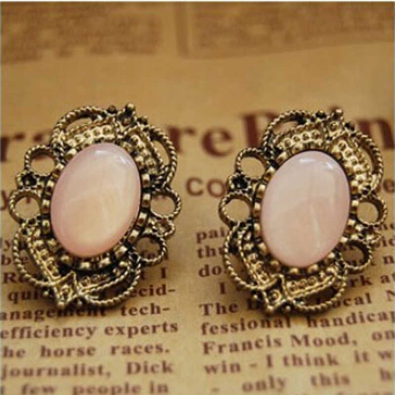 Free Shipping Hot Statement Jewelry Vintage Antique Bronze Gold  Colour   Opal Gem Earrings For Women ne410