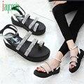 Alta qualidade Mulheres Sapatos Gladiador Planas Sandálias de Strass Verão Sandálias Sapatos Da Moda 170224