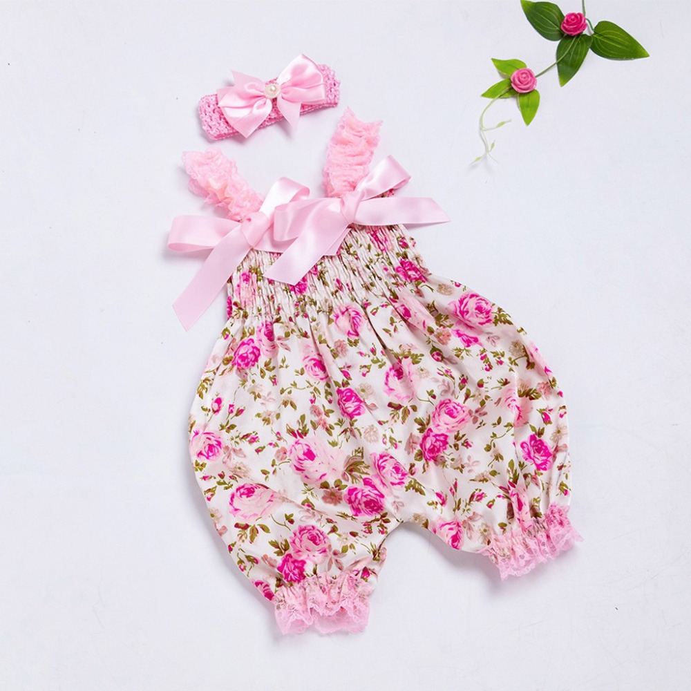 Summer 2PC Funny New Born Girls Flower Print Baby   Rompers   Body Baby Girl Lace Jumpsuit Bows Headband Iospioszki Dropshipping 2