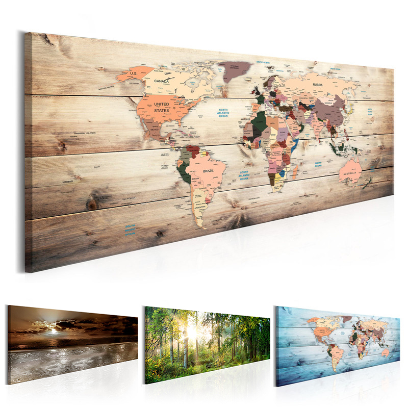 World Map Canvas Painting Vintage Wall Art Abstract Nature Posters And Prints Landscape Pictures For Living Bedroom Decoration