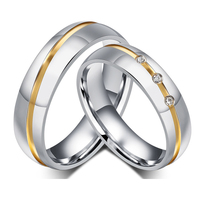 1 Pair Gold Plated Custom Alliance Stainless Steel Wedding Bands Couples Rings Sets For Him And