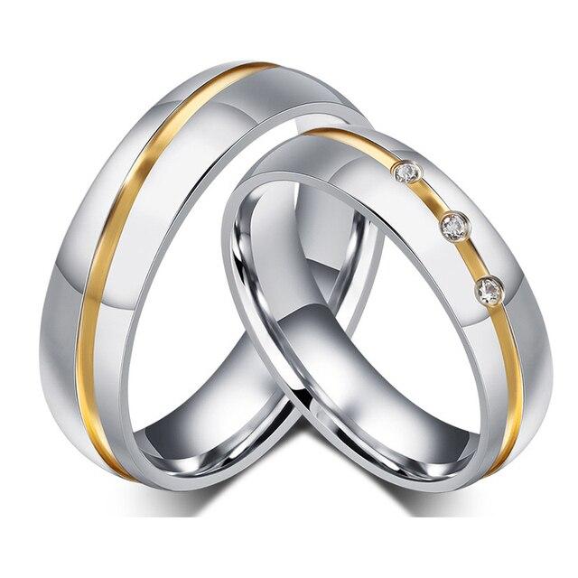 ca1bd31fa999 Conjuntos de anillos de boda de acero inoxidable de alianza de Color dorado  para él y