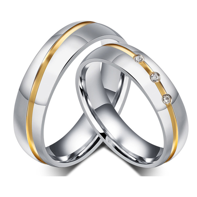 Gold Color Custom Alliance Stainless Steel Wedding Bands Couples Rings Sets  For Him And Her Anillos