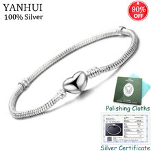 Have Certificate! Original 925 Solid Silver Heart Shape Charm Bracelet Snake Bone Bracelets DIY Bead Jewelry for Women CB191(China)