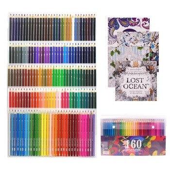 Lápices de madera al óleo, lápices de colores solubles en agua para estudiantes de arte profesionales-surtido de 160 colores para bocetos páginas de colorear