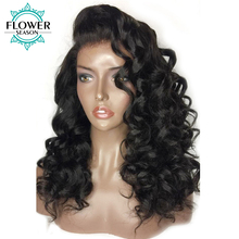 FlowerSeason Loose Wave Pre Plucked Deep Part 13×6 Lace Front Human Hair Wigs For Black Woman Brazilian Non-Remy Hair 130Density