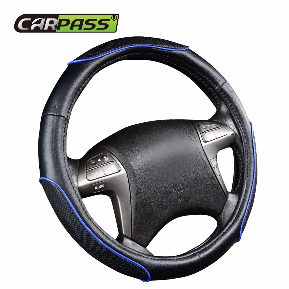 Car-pass Fashion Newest Faux leather Universal Car Steering Wheel Cover Car Steering Wheel Hubs Styling Blue For BWM Nissan VW