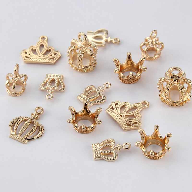 Wholesale Women 15pcs/pack Vintage Mixed Crown Necklace Pendant Connector Diy Jewelry Findings Branches Charms Accessories