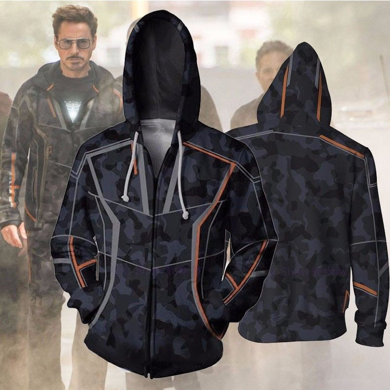 Avengers Infinity War Iron Man Tony Stark Hoodie Costumes Sweatshirts Anime 3d Digital Printing Cosplay Zipper Clothing